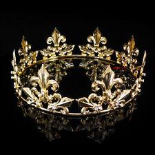 Men's Imperial Medieval Fleur De Lis Gold King Crown 5.5cm High 18cm Diameter