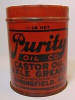 Rare Vintage 1930s PURITY OIL COMPANY CASTOR OIL GREASE CAN SPRINGFIELD MISSOURI
