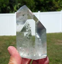 Green Arcing Chlorite PHANTOM in Clear Quartz Crystal Point Brazil Super Clarity