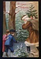 Christmas~Brown Robe~Santa Claus~in Forest with Children~Antique  Postcard--s514