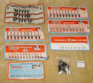 NEWEY HOOKS & BAR LOOPS BLACK / STAINLESS STEEL CARDED Size 00,0,3 & 4 Vintage