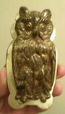 ANTIQUE CAST IRON Great Horned Owl PAPER LETTER DESK CLIP HOLDER #518