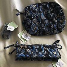 VERA BRADLEY Windsor Navy New Large / Small Cosmetic Bag Travel Set Belt