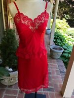 Vintage Camisole & Half Slip Set Lacy Cherry Red Elegant Pin up Set Small 32