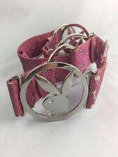 Playboy Belt Pink Glitter Silver Metal Bunny Small