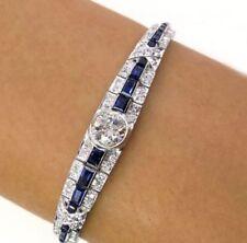 925 Sterling Silver Bracelet 7 Inch Brilliant Cut Moissanite & Blue Sapphire