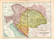 1909 MAP ~ AUSTRIA-HUNGARY ~ BOSNIA BOHEMIA TRANSYLVANIA CROATIA