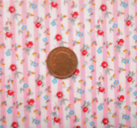 PINK ROSES & SMALL BLUE FLOWERS ON PINK & WHITE STRIPE - 100% COTTON FABRIC FQ'S
