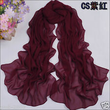 Spring Summer Women's Fuchsia Soft Chiffon Thin Beach Stole Wrap Scarf Shawl
