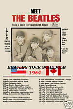 The Beatles 1964 US Tour Poster * Meet The Beatles * Promotional Poster