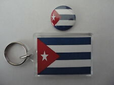 Cuba Cuban Flag 2 Sided Photo Keyring With Free Button Pin Badge