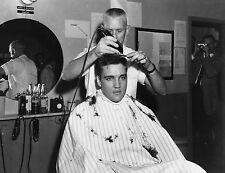 ELVIS PRESLEY ARMY BARBER SHOP HAIRCUT 8X10 GLOSSY PHOTO PICTURE
