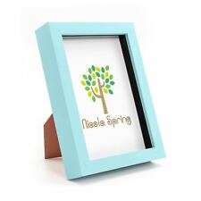 Nicola Spring Photo Frame - Acrylic Box Frame (Glass Cover) - 5x7in - Blue