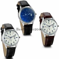 Classic Business Calendar Dial PU Leather Band Analog Quartz Wrist Watches Men's