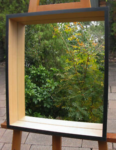Box Style Framed Mirror Light Beech Craftwood finish with Black Edge 530x460mm