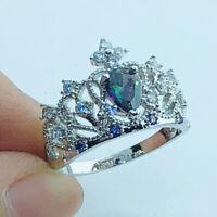 Crown Wedding Pear Rainbow White Topaz Gemstone Silver Ring Size 6-13 Jewelry