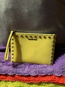 Michael Kors Jet Set Yellow Studded Saffiano Leather Credit Card Zip Wristlet
