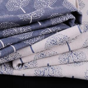 1x1.5m Linen Cotton Fabric Cloth Money Tree Print Upholstery Curtain Tablecloth