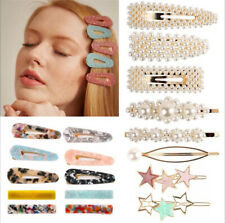 Women's Girls Pearl Acrylic Hair Clip Gold Silver Hairpin Slide Grips Barrette