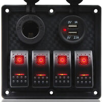 12V/24V 4 Gang LED Schalttafel Schaltpanel Schalttaf mit Voltmeter Für Boot Auto