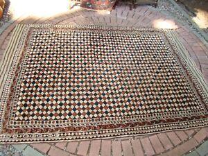 Antique Turkmen or Baluchi unusual checkered Rug, Room Size Carpet 7x9
