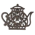 Teapot Kettle Trivet Cast Iron Rustic Antiqued Hot Pot Plate Holder Floral