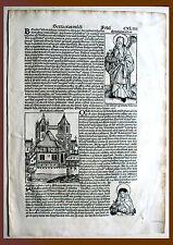 Inkunabel, Schedel Weltchronik, Pag. CXLIIII - Holzschnitt 1493, Graphik Grafik