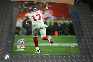 NY GIANTS PLAXICO BURRESS #17 SIGNED 16X20 PHOTO SUPER BOWL XLII CHAMPS STEINER