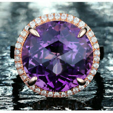 10.53TCW 14MM Round Natural Amethyst Diamond Engagement Ring G14K Rose Gold