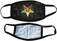 MASONIC OES Order of Eastern STAR BLACK FACE MASK FREEMASON Washable Reusable