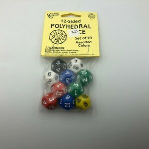 2007 Koplow Games 12 Sided Polyhedral Game Dice Set Of 10 Asst Colors New R1