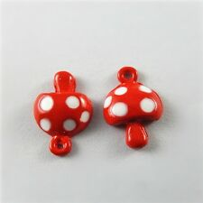 10 pcs Enamel Paint Mini Polka Dot Red Mushroom Pendant Charm Jewelry Findings