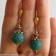 Green round Matte Agate gemstone earrings Gold Plated Leverbacks Cute Jewelry