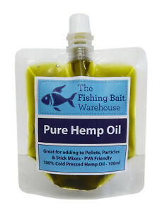 100% Pure Hemp Oil 100ml - Fishing Bait, Carp, Bait Dip, PVA Friendly