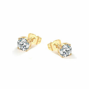 Ear Studs Earrings 9 kt Gold Plated/Silver Women Men Pair of Sparkling Crystals