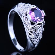NATURAL AMETHYST NATURAL DIAMONDS FILIGREE ANTIQUE RING WHOLESALE 10K WHITE GOLD