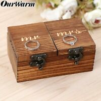 Rustic Vintage Wooden Wedding Ring Bearer Box Ring Holder Jewelry Gift Ring Box