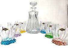 Crystal Glasses Whiskey Set Decanter 23 oz and 6 Tumblers 10 oz Bohemian Crystal