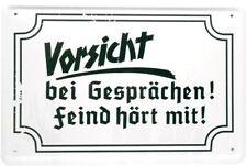 Blechschild 20x30 Vorsicht bei Gesprächen Feind hört mit Weltkrieg historisch