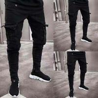 New Mens Jeans Long Pants Denim Cargo Combat Slim Fit Biker Work Casual Trousers