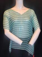 BNWT MARNI 100% Silk Acquamarina Blusa Scollo V Neck Voile Blouse UK12 Gift Idea