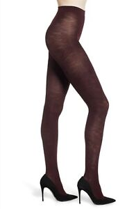 FALKE Womens Tights Kyoto Embossed Floral Opaque Small Barolo Burgundy $40 -NWT