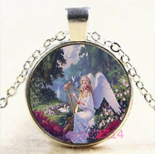 Angel Cabochon Silver/Bronze/Black/Gold Glass Chain Pendant Necklace #6814