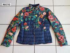 Doudoune, giubbotto, piumino, jacket Femme bleu marine avec motifs floraux