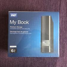 New WD My Book 6TB External Hard Drive, USB 3.0, W/ Backup, WDBFJK0060HBK-NESN