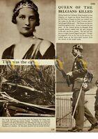 Astrid, Queen of Belgians Killed, 1935, Book Illustration, 1938