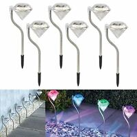 6 PK Modern Diamond Solar Power Stainless Steel Colour Changing Garden Light