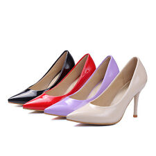 Women's Shiny Pointed Toes Shoes Synthetic Leather High Heels Pumps AU Size s408