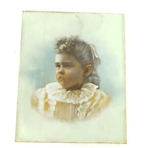 Antique Hand Colored Engraving or Lithograph Print Mount on Canvas of Young Girl
