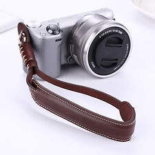 Coffee Genuine Leather Camera Hand Wrist Strap For Samsung Sony
